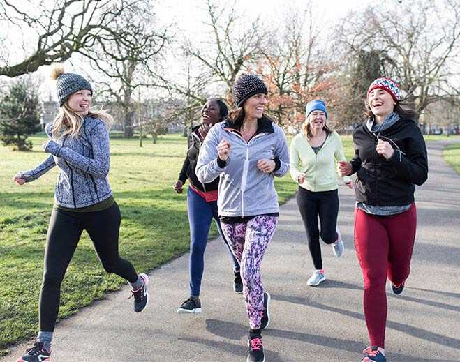 ladies running in winter wear